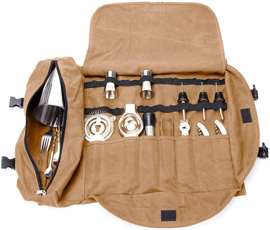 QEES Bartender Kit bolsa de mano, portátil, grande, juego de barras, bolsa de herramientas, casa y lugar de trabajo para hacer cócteles para viajes GJB309 15.7