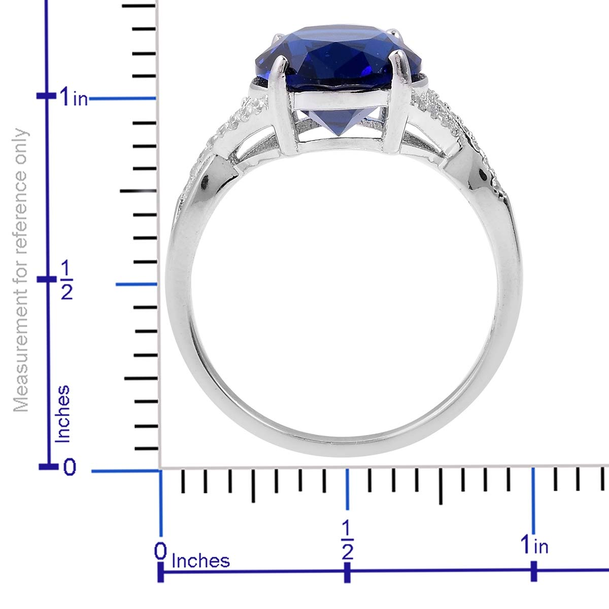Statement Ring 925 Sterling Silver Blue Glass White Cubic Zirconia CZ Gift Jewelry for Women Size 10 Ct 5