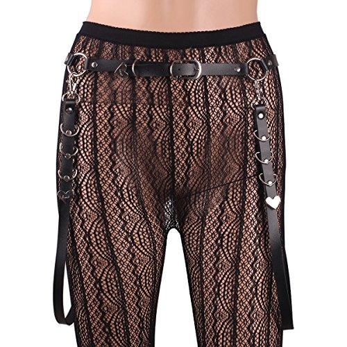 Women Gothic Garter O Ring Belts Studded Suspender Adjustable (Studded Suspenders)