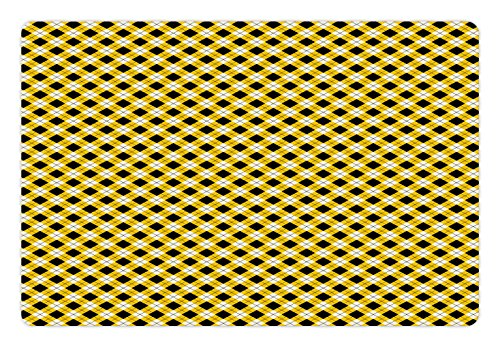 Geometric Pet Mats for Food and Water by Ambesonne, Argyle Pattern with Rhombuses and Dotted Lines Grid Plaid Design, Rectangle Non-Slip Rubber Mat for Dogs and Cats, Yellow Black and White (Argyle Yellow Pattern)