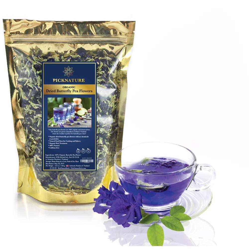 Amazon Com Organic Dried Butterfly Pea Flowers 50g Grocery Tea