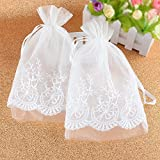 VU100 Lace Flower Organza Bags/Pouches with Drawstrings, Premium Wedding Party Favor Jewelry Gift Bags, for Bridal Shower Candy Clothes Sachet Storage (2 Packs, 6x9 Inches,White)