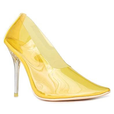 a1dffcb5fe2 RF ROOM OF FASHION Celebrity Inspired Slip On Transparent Jelly Pointy Toe  Stiletto Pumps Shoes Yellow