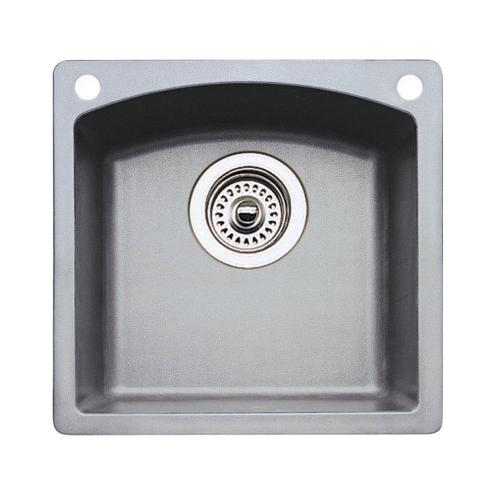 Blanco 440203-2 Diamond 2-Hole Single-Basin Drop-In or Undermount Granite Bar Sink, Metallic Gray