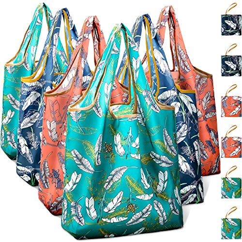 Reusable Grocery Shopping Bags Foldable with Pouch, Heavy Duty Nylon Cloth Reusable Bags for Groceries, Shopping Trip (Leaves, 6-pcs) -
