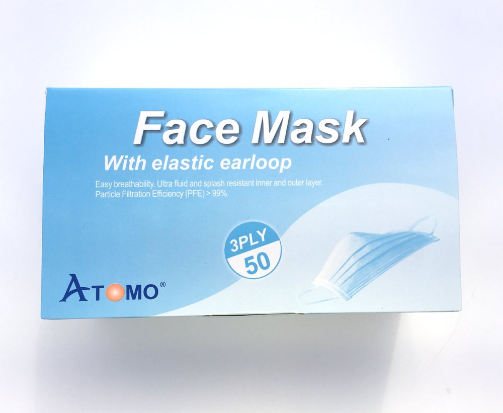 ATOMO Earloop Face Mask (Level-2), 3-Ply, White, 4 Cases (80 boxes, 4000pcs), same as Medline, Cranberry, Top Quality Dental Medical Supplies, FREE ship to Dental Medical Office