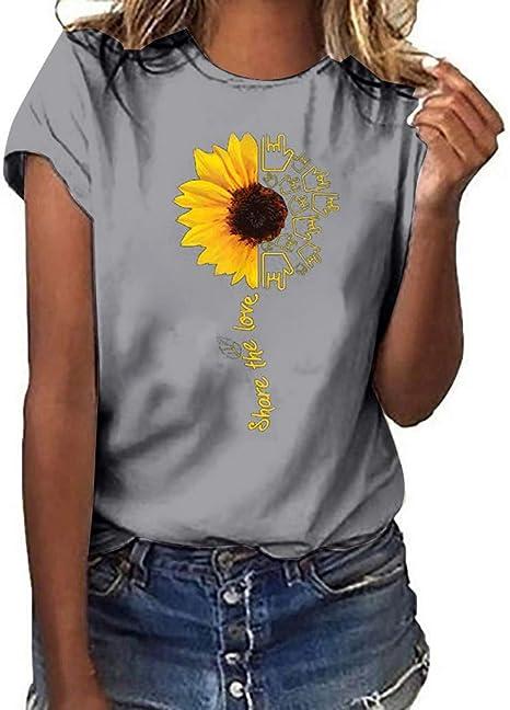 Camisetas de algodón con diseño de girasol para mujer, manga corta, cuello redondo, impresión de letras, sueltas, básicas, 2019, blusa de playa casual de verano: Amazon.es: Juguetes y juegos