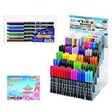Kuretake Fudebiyori Bundle Set , Pocket Color Brush Pen Metallic 6 Colors Set ( CBK-55ME/6V ) + Brush Pen 186 Set ( CBK-55/DP186 ) + Original 5 Colors Sticky Notes