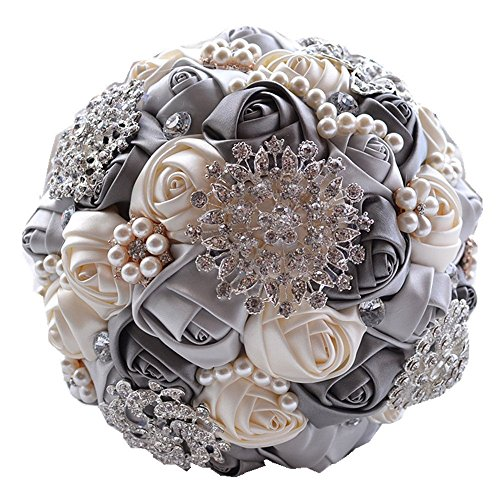 Flower Ribbon Decor - Romantic Wedding Bride Holding Bouquet Roses with Diamond Pearl Ribbon Valentine's Day Bouquet Confession (gray)