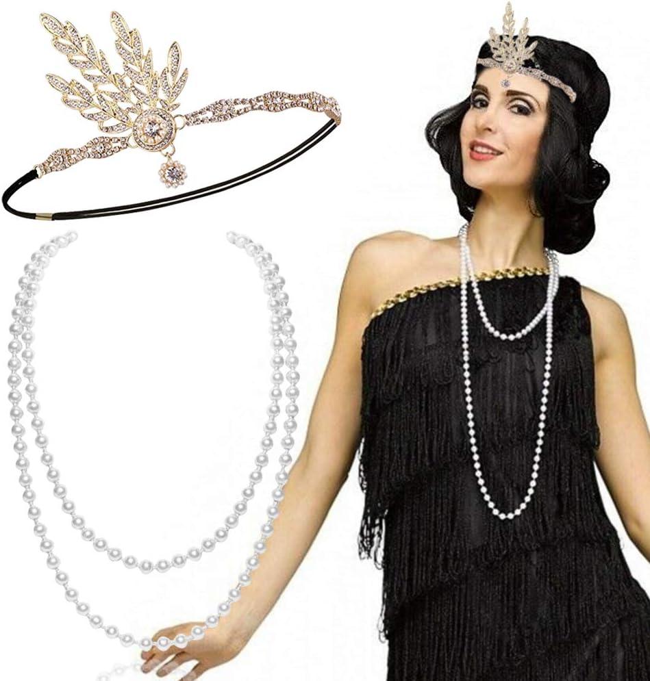 FLOFIA Set 1920s Accesorios Años 20 Disfraz Charlestón Flapper Diadema de Pelo, Collar de Perlas Gran Gatsby Accesorios para Mujer Disfraz Carnaval Fiesta Danza Discoteca
