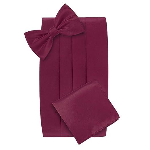 c7439bd4a98c Amazon.com: HDE Tuxedo Set Men's Formal Satin Blend Bow Tie, Cummerbund,  and Pocket Square: Clothing