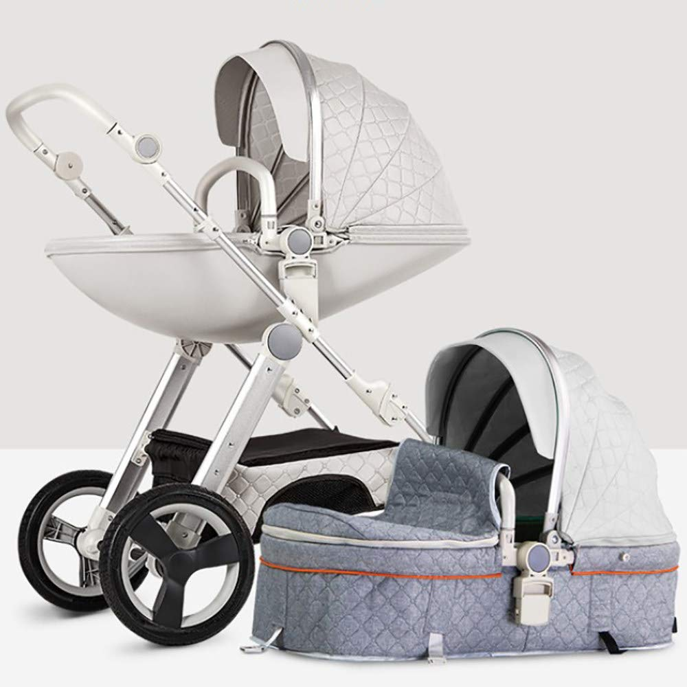 Stroller, Multi-Function Two-Way High Landscape Sitting and Lying Folding Portable Shockproof Eggshell Travel Baby Carriage,Grey by BXYY