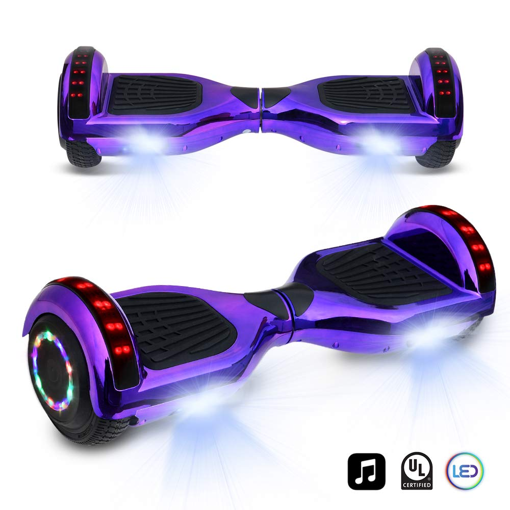 cho 6.5'' inch Chrome Hoverboard Electric Smart Self Balancing Scooter with Built-in Wireless Speaker LED Wheels and Side Lights (Purple) by cho