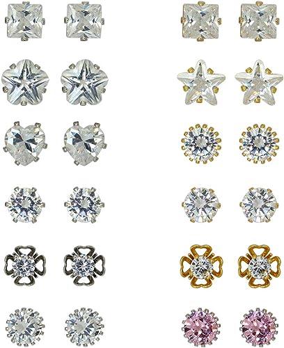 Sale 12Pairs Rhinestone Crystal Stainless Steel Women Ear Stud Earrings Jewelry