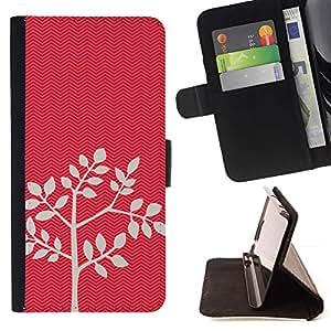 For Sony Xperia Style T3 Case , Patrón del árbol Hojas Naturaleza Minimalista- la tarjeta de Crédito Slots PU Funda de cuero Monedero caso cubierta de piel