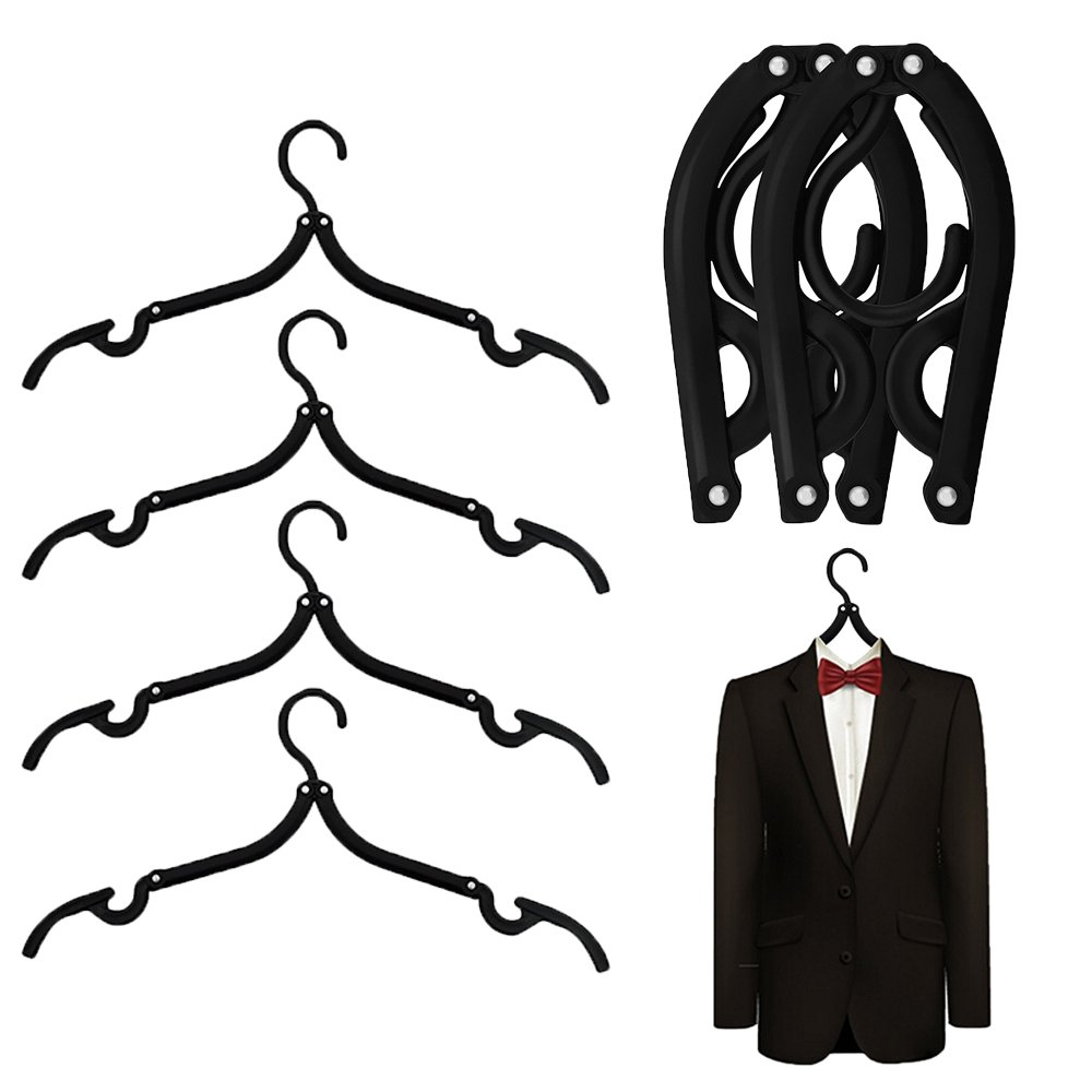 MINGZE 6 piezas de calidad negro plástico plegable perchas de viaje 40 cm, familia que acampa Mini antideslizante estante de ropa gancho percha