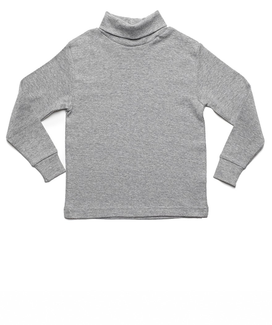 Leveret Solid Turtleneck 100% Cotton (8 Years, Light Grey) by Leveret (Image #1)