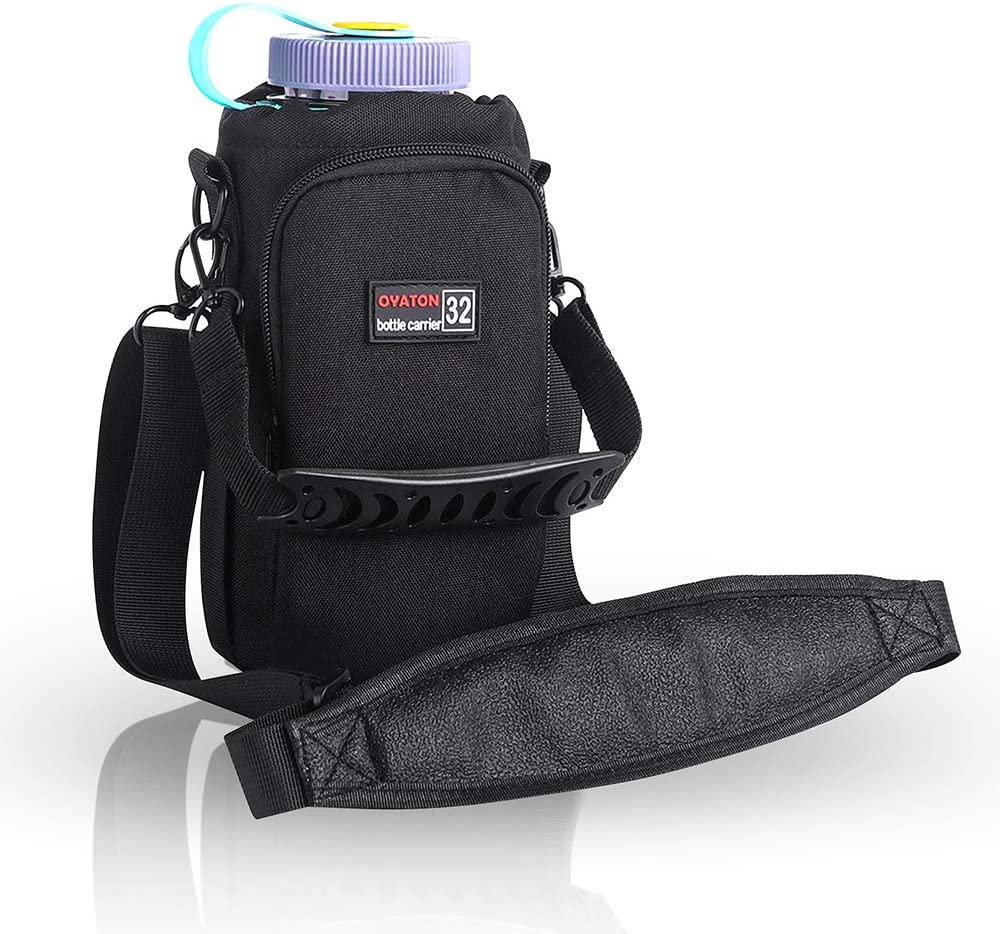 OYATON Insulated Water Bottle Holder with Strap for 32 oz 40 oz 64 oz Water Bottles, Bottle Carrier Bag Case Pouch Cover with Pocket for Walking Gym Travel Hiking, Keep Drinks Cool(Exclude Bottle)