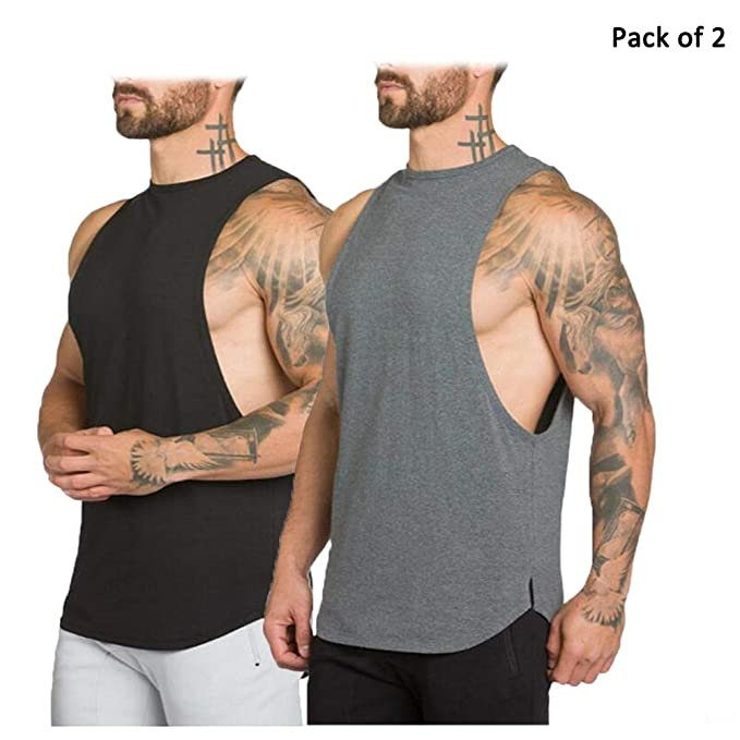 f947e9c2a11 JoofEric Men s Muscle Cut Workout T-Shirt Fitness Gym Bodybuilding Tank Tops  (US M