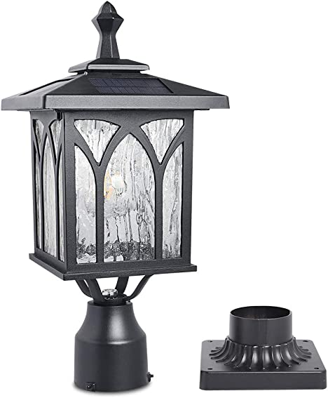 Kemeco ST4328Q Solar Post Light Outdoor Cast Aluminum LED Lamp Fixture with 3-Inch Fitter Base for Yard Garden Post Pole Pillar Mount Landscape Driveway