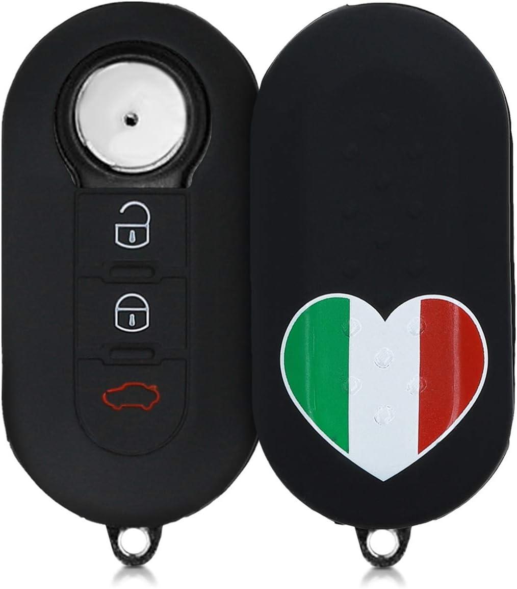 kwmobile Accessoire cl/é de Voiture pour Fiat Lancia Coque pour Clef de Voiture Pliable Fiat Lancia 3-Bouton en Silicone Vert Clair-Bleu-Noir /Étui de Protection Souple