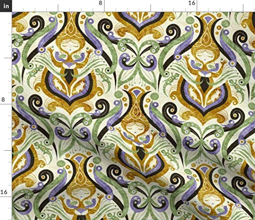 Spoonflower Victorian Fabric - Twenties 1920S Neutural Floral Design Repeat Pattern Liberty Art Nouveau Damask Print on Fabric by The Yard - Eco Canvas for Durable Upholstery Home Decor Accessories