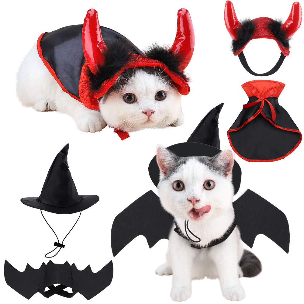 Brobery Halloween Pet Costume for Cats - Pet Bat Wings, Vampire Cloak, Witch Hat and Devil Horn for Pet Holiday Cosplay Party, Cute Funny Pet Costume for Cats and Small Dogs by Brobery