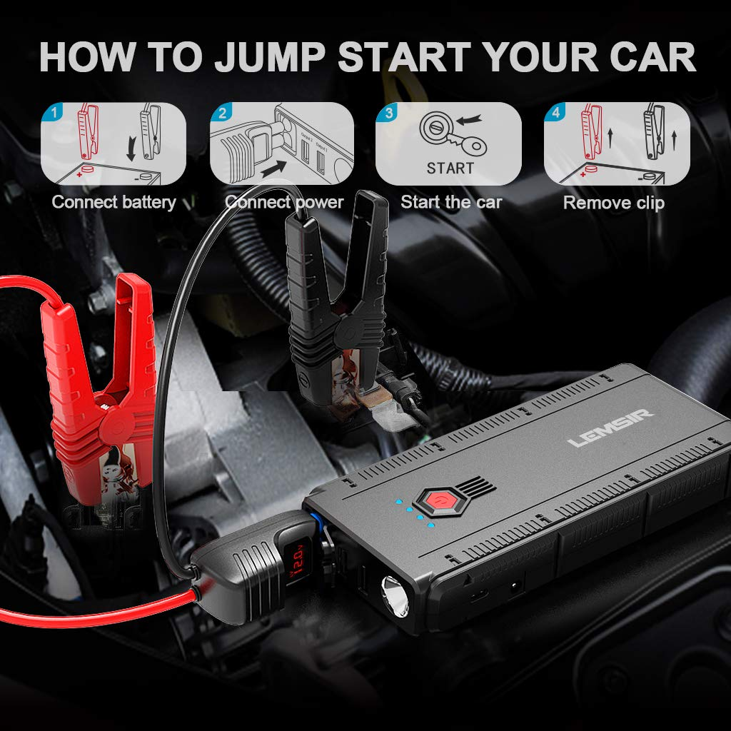 LEMSIR QDSP 1500A Peak Portable Car Jump Starter 12V Auto Battery Booster up to 8.0L Gas or 6.2L Diesel Power Pack with Smart Jumper Cables V2 by LEMSIR (Image #6)