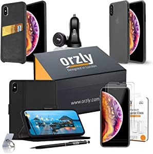 Orzly iPhone Xs Max Cases & Essentials Pack Accessories Bundle - Includes USB Car Charger Adapter, Stylus Pen, Ring Stand, Tempered Glass Screen Protectors, Phone Cases for iPhone Xs Max (6.5 inch)