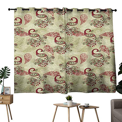 (Mannwarehouse Peacock Windshield Curtain Winter Pattern with Stylized Peacocks Snowflakes Floral Paisley Ornate Privacy Protection 63