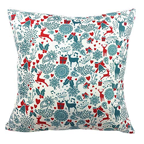 Euro Computer Bed - Emerayo Christmas Theme Printing Two-Side Case Zipper Closure Square Decorative Throw Pillows Cushion Covers Cases Pillowcases for Sofa 18x18 inch (D, 18 X 18 Inch)