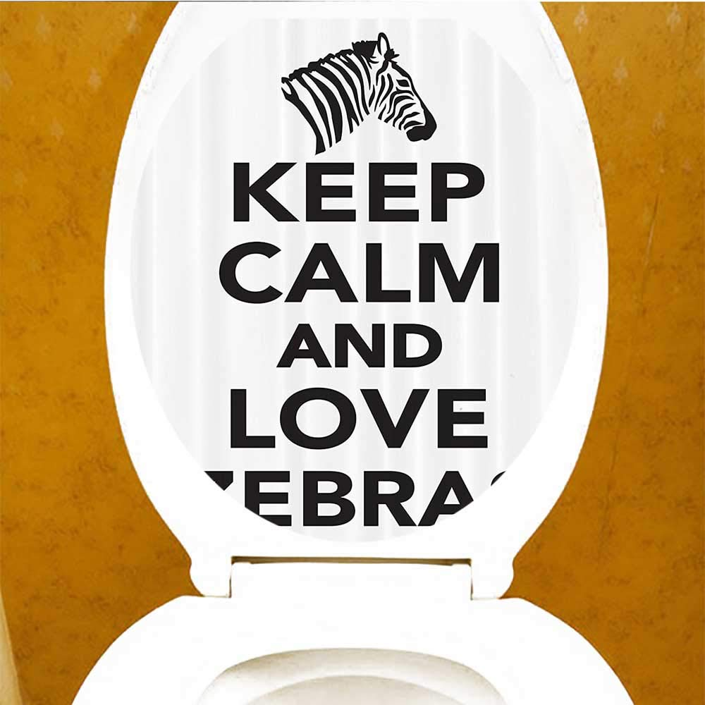 Exterior Accessories Printsonne Toilet Seat Decal Vinyl Keep Calm Love Zebras Lettering Zebra HeadSilhouette Decal Sticker Toilet Decoration W13 x L13