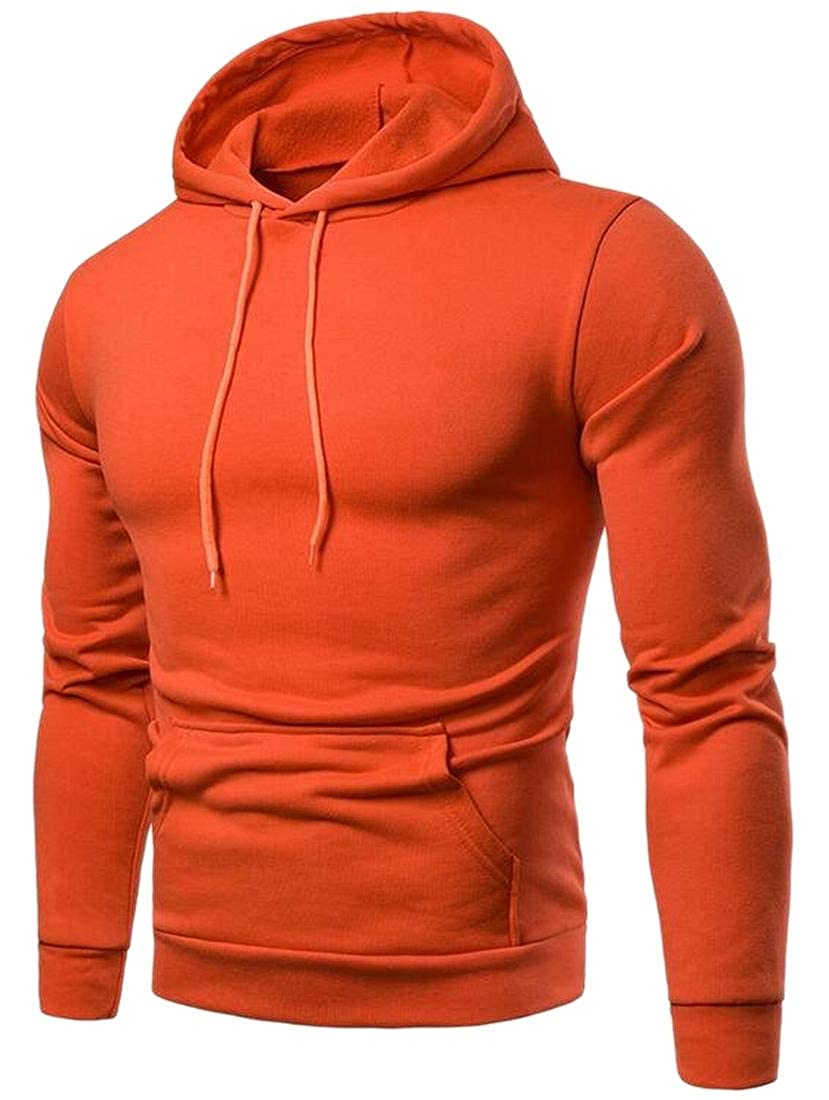 WSPLYSPJY Mens Long Sleeve Fall Winter Big and Tall Solid Pullover Hoodies Sweatshirt