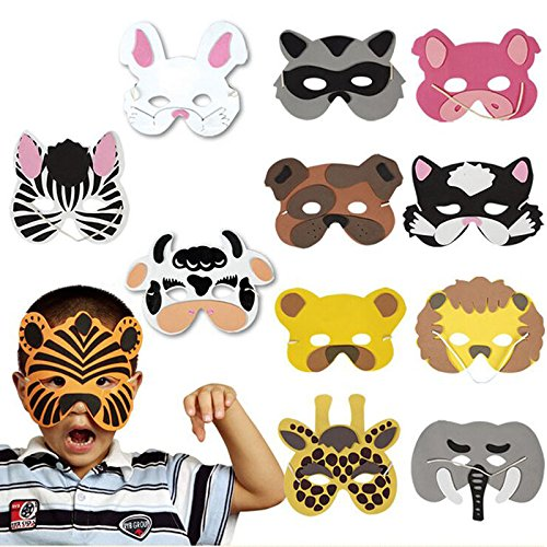 [FOXDE TECH EVA Cosplay Halloween Animal Head Mask Zoo Party Dress Up Costume Prop Toys Pack of 12] (Cow Hooves Costume)