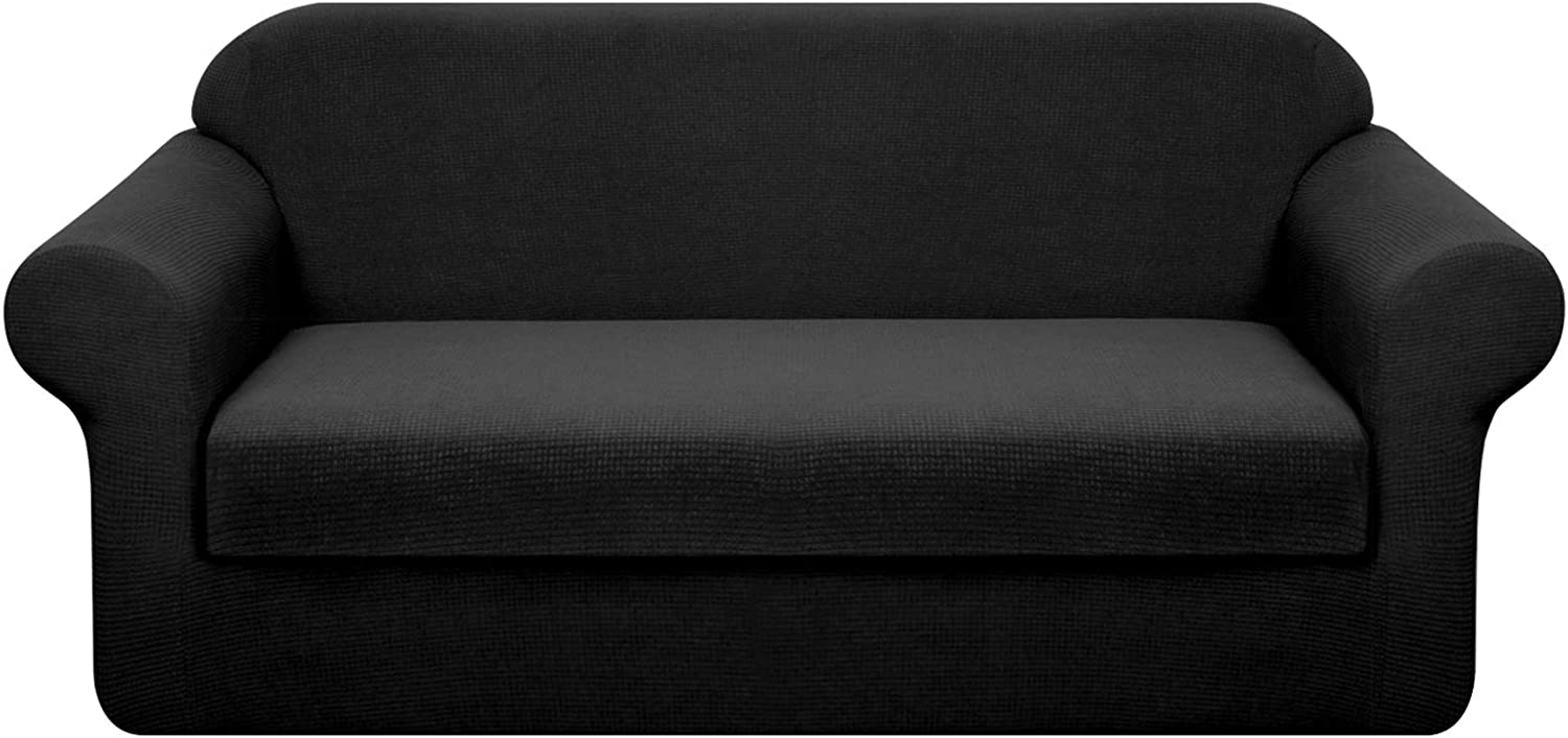 Granbest Stretch Sofa Slipcovers 3 Cushion Couch Covers Water-Repellent Pet Furniture Covers Dog Couch Protectors (Black, Medium-2 Pieces)