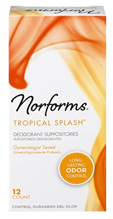 Norforms Tropical Splash Deodorant Suppositories 12 each Pack of 6