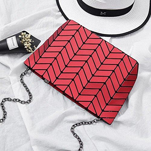 Aoligei 5 * 8 Matt Girl petit sac à bandoulière ondulés style japonais losange à géométrie variable sac E