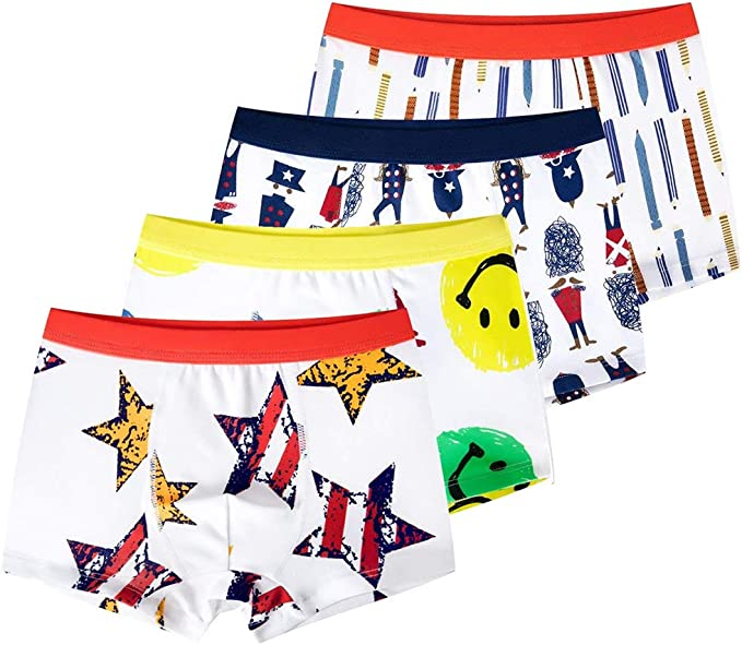 Kimjun Toddler Baby Boxer Briefs Boys Soft Underwear Cotton Boxer Shorts 4 Pack 1-6T