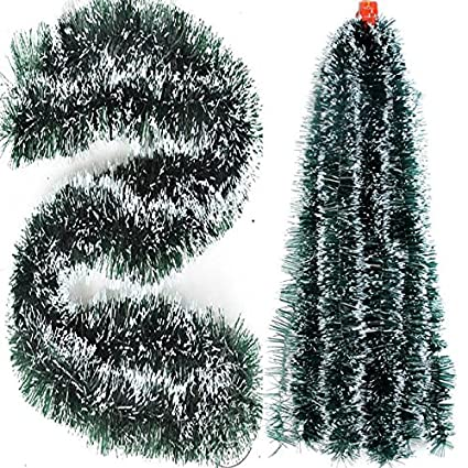 PragAart Dark Green Tinsel Garland With White Tips For Christmas Xmas Decoration (10, 6 Foot)