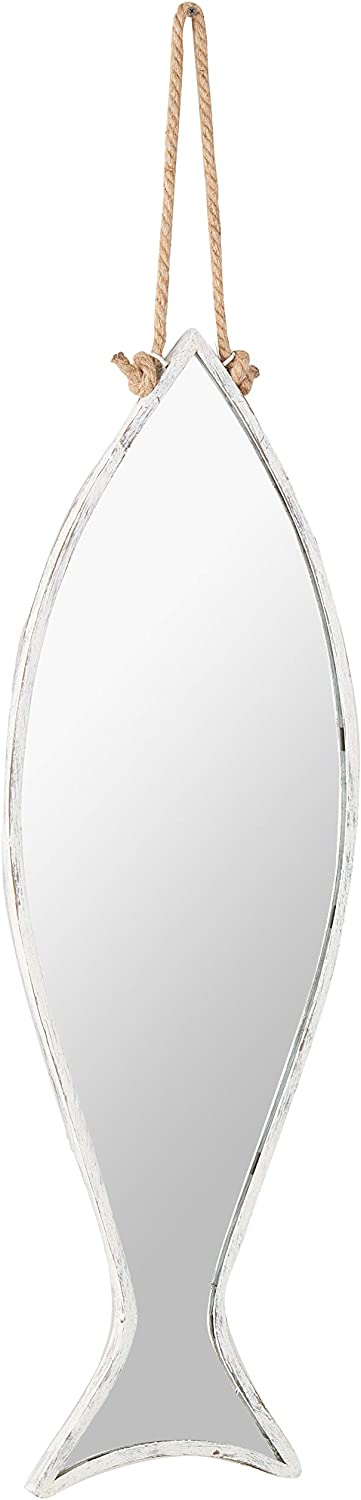 KALALOU Vertical Fish Mirror with Rope Hanger, One Size, Silver