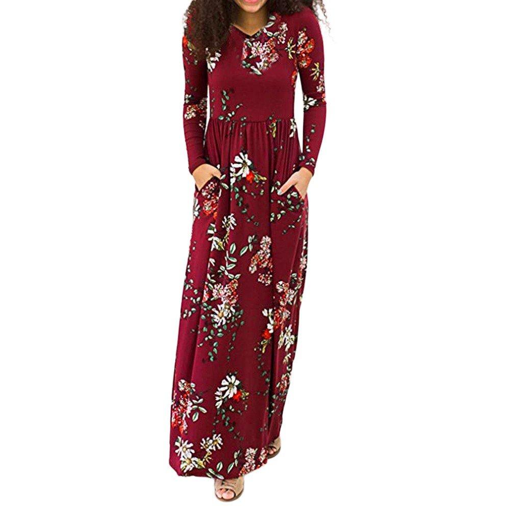 JESPER Women Summer Bohemian Half Sleeve Tunic Floral Party Beach Long Maxi Dress Sundress Wine Red