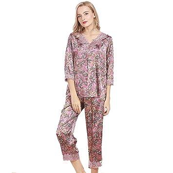 Pakamo De las mujeres Verano Conjunto de pijama Suave Impresión Bata de noche Set de 2