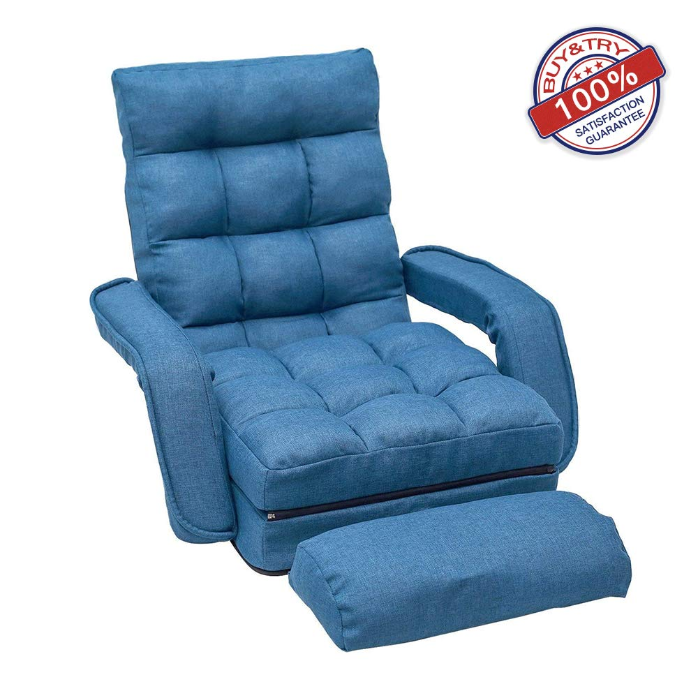 Hooseng Adjustable Folding Lazy Sofa Floor Lounger Bed Padded Gaming Chair with Armrests and Pillow, Blue2 by Hooseng
