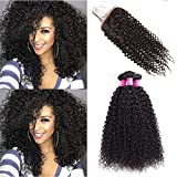 (US) Brazilian Curly Hair 3 Bundles With Closure Virgin Remy Curly Hair Weave Unprocessed Human Hair With 4×4 Lace Closure Natural Black (10 12 14+8)