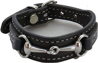 product image for Saving Shepherd Equestrian Bit Bracelet Black & Navy Blue Leather Silver Hardware