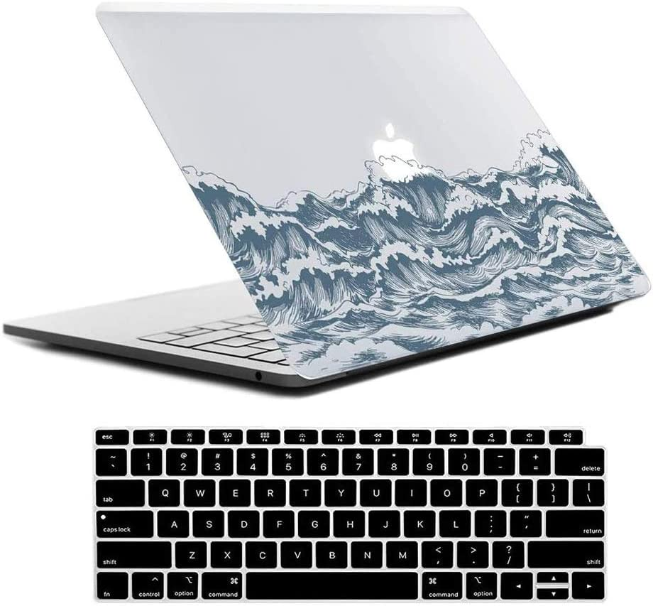 Lapac MacBook Air 13 Inch Clear Case 2020 2019 2018 Release A2179 A1932, Blue Ocean New MacBook Air 13 in Case Hard Shell Case & Retina Display Fits Touch ID with Keyboard Cover(SeaWave(A2179/A1932))