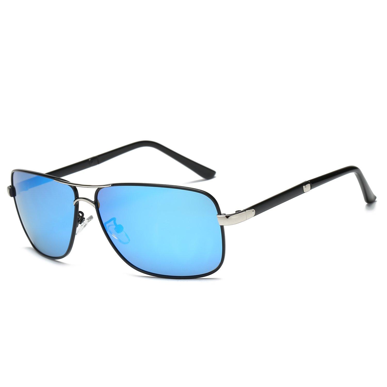 Amazon.com  Galulas Mirrored Reflective Driving Glasses Rectangular Frame  Eyewear Double Metal Bridge Shades Thickening HD Polarized Lenses Aviator  ... 7cc5288c5dd0