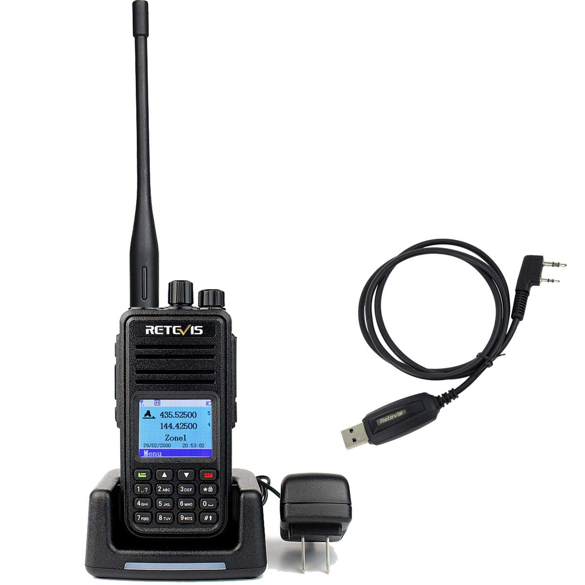 Retevis RT3S Dual Band Dual DMR Two Way RadioTime Slot 120000 Contacts 2000mAh Digital Ham Amateur Radio with Record Function Black 1 Pack