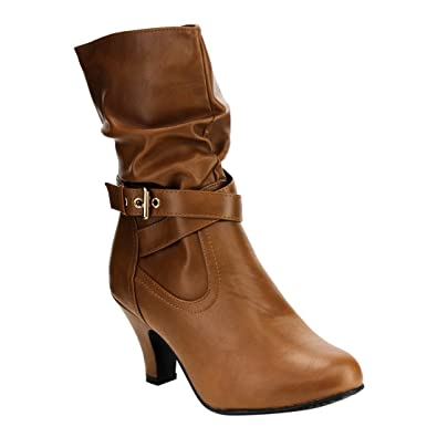 IB95 Women's Ankle Strap Slouchy Chunk Heel Mid-calf Boots Color:TAN