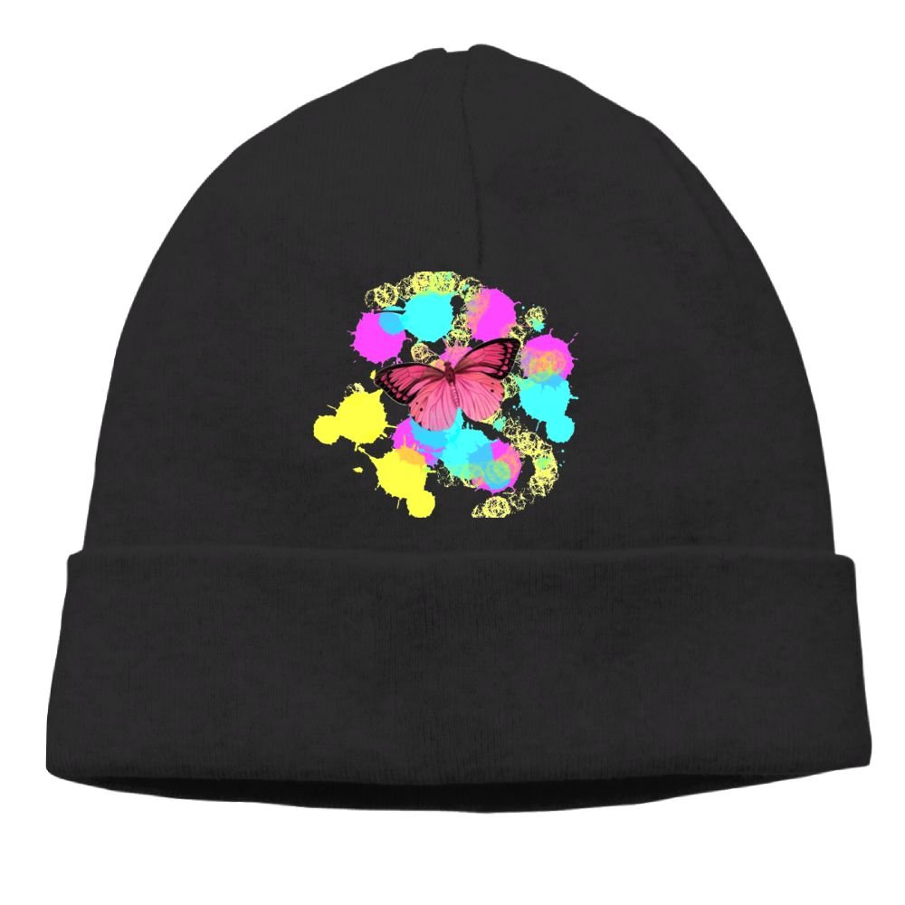 Cqelng Oii Color Pigment Butterfly Ski Hat Knit Cap Winter Fashion Women